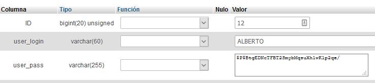 funcion user_pass de wordpress